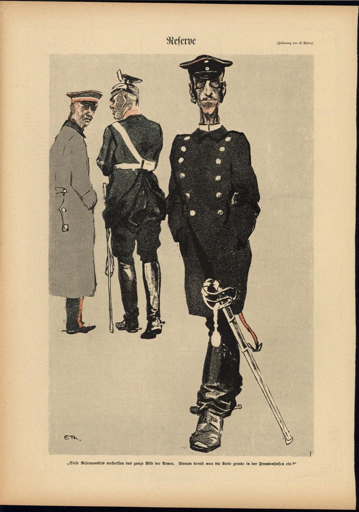 Army Officer Leisurely Strolling 1902 antique Art Nouveau color lithograph print