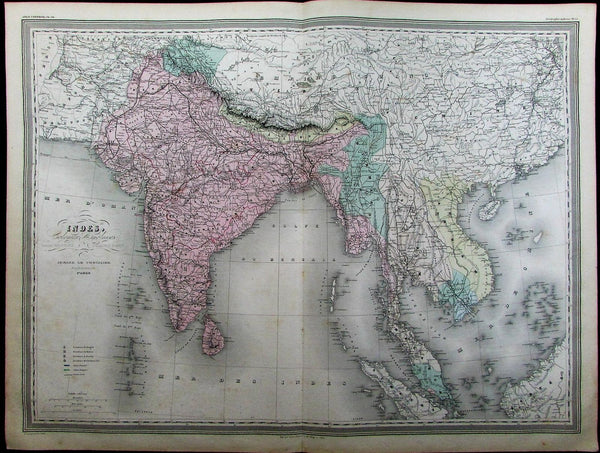 British India Nepal Tibet Burma Siam China Annam c.1865 Dufour old antique map