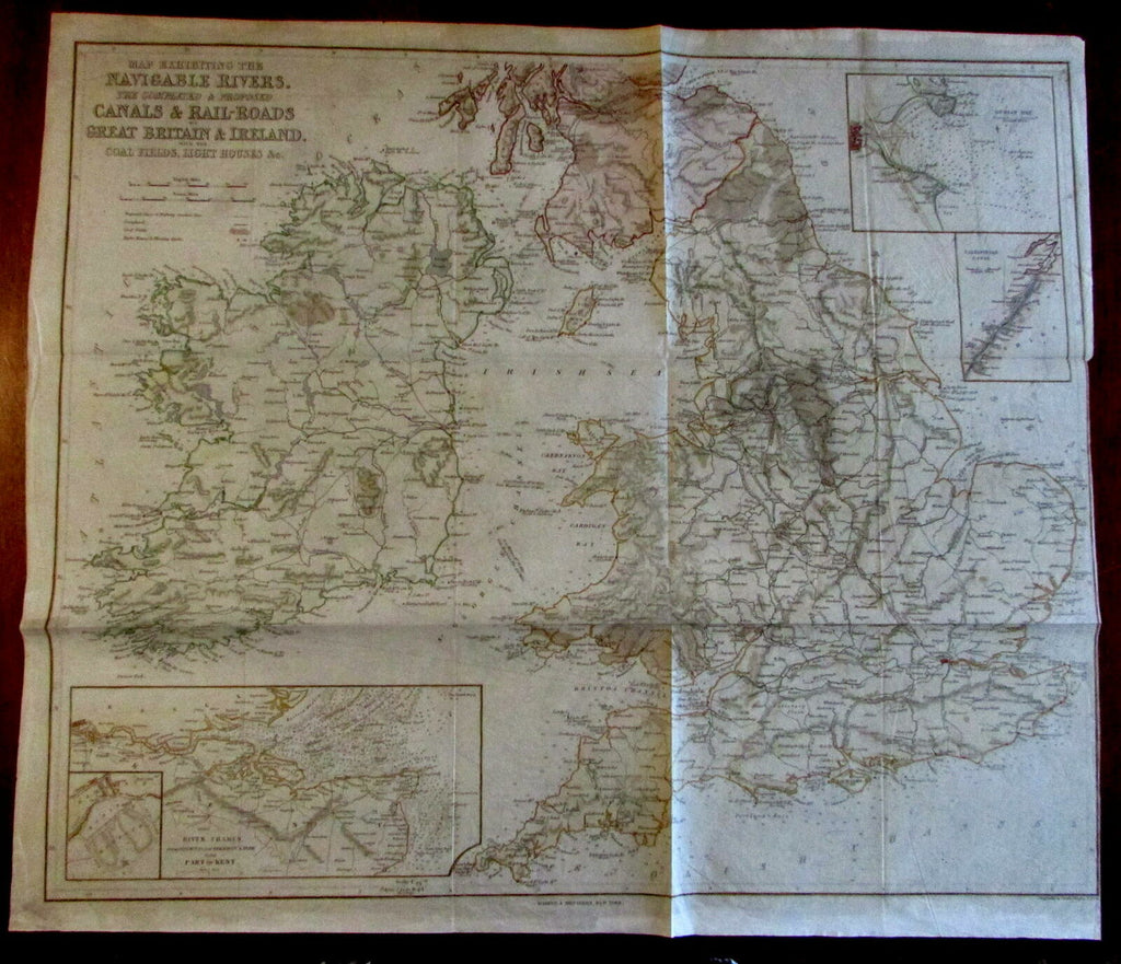British Isles Ireland Railroads light houses coal field 1845 Copely scarce map