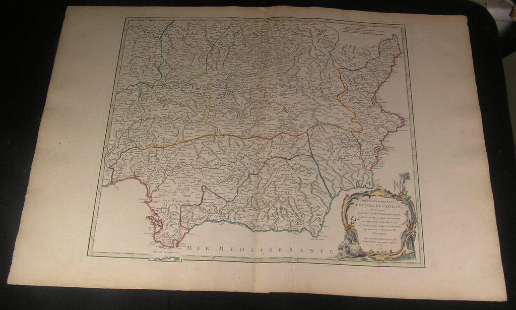Southern Spain Grenada Castile Andalusia 1751 Vaugondy antique old color map