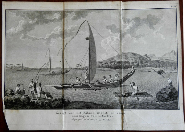 Tahiti Fishing Boats Native Peoples Raft Sails 1801 Captain Cook engraved print