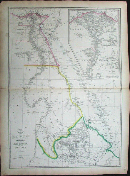 Africa w/ Nile source Egypt Nubia Abyssinia Red Sea Ethiopia c.1860  Weller map