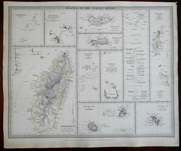 Islands of the Indian Ocean Maldives Amirantes c. 1840 SDUK detailed antique map