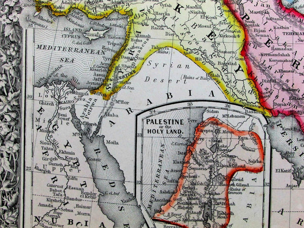 Persia Palestine Afghanistan Iran Syria Armenia 1860 Mitchell lovely color map