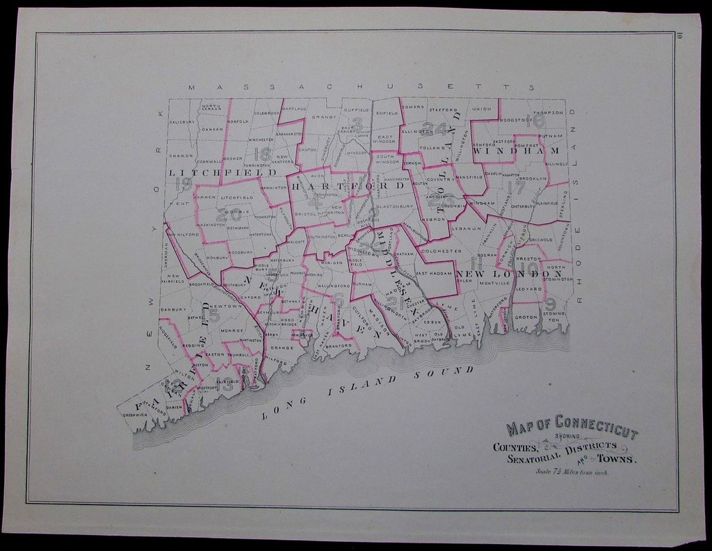 Connecticut Counties Senatorial Districts 1893 antique political map of state
