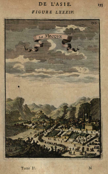 Mecca Saudi Arabia 1683 Mallet early miniature city view hand color
