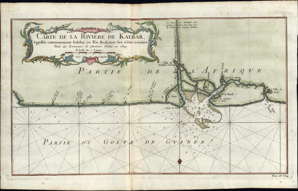 Africa Guinea coast Kalbar river 1748 Bellin 1699 old antique engraved color map