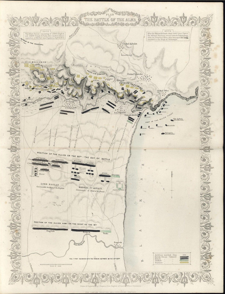 Battle of the Alma Crimean War 1860 Tallis fine old vintage antique battle map