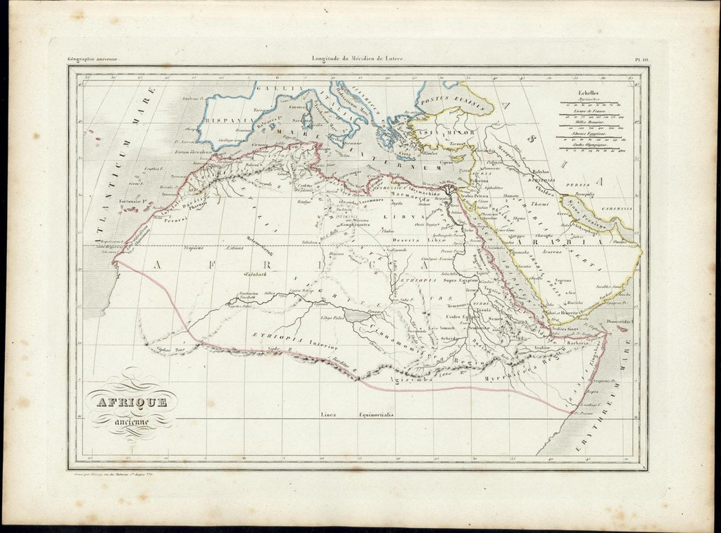 Northern Africa mythical Mts. of Moon 1846 uncommon antique color map