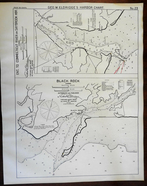 Black Rock Connecticut 1901 Eldridge detailed coastal nautical survey