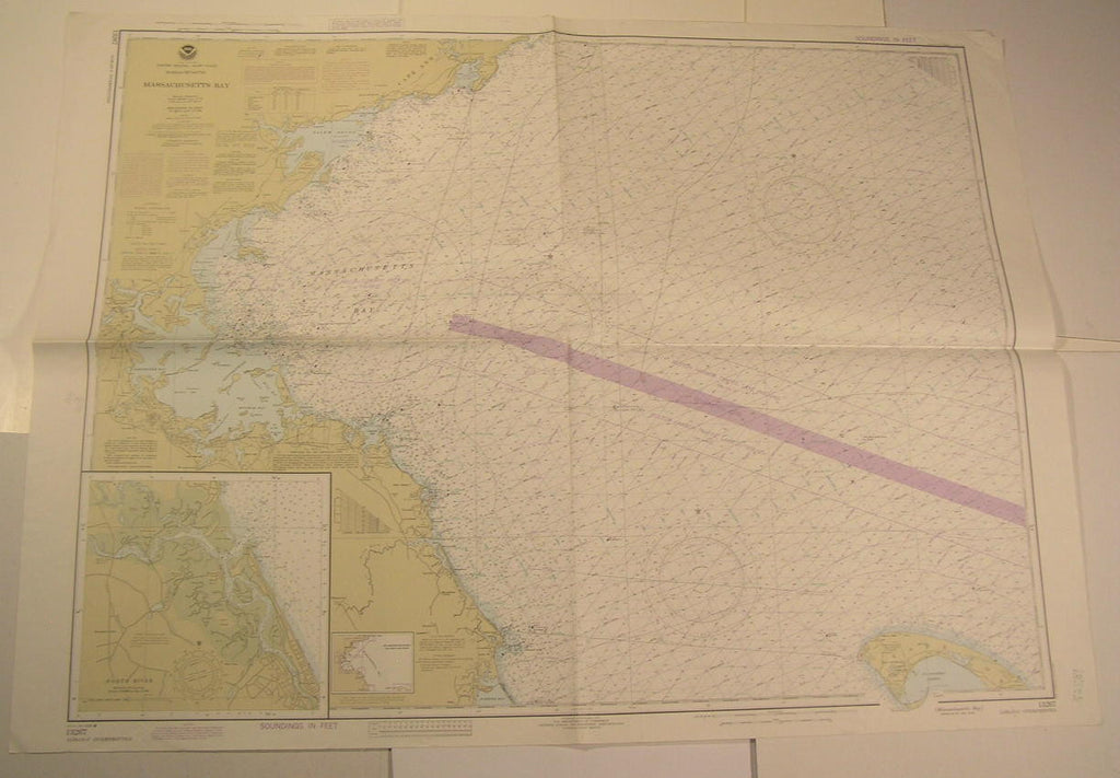 Massachusetts Bay Boston Dorchester Salem Sound Quincy 1984 vintage nautical map