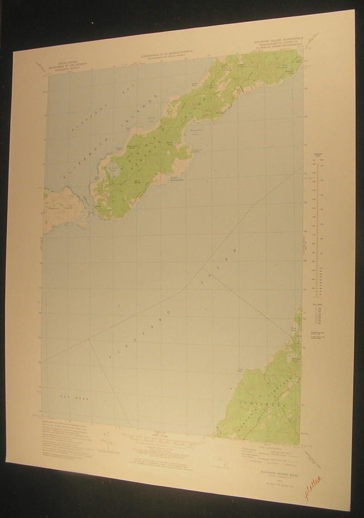 Naushon Island Martha's Vineyard Massachusetts 1978 antique color lithograph map