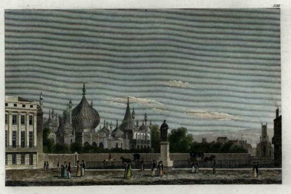 England Royal Brighton Pavilion c.1850 engraved view print lovely hand color