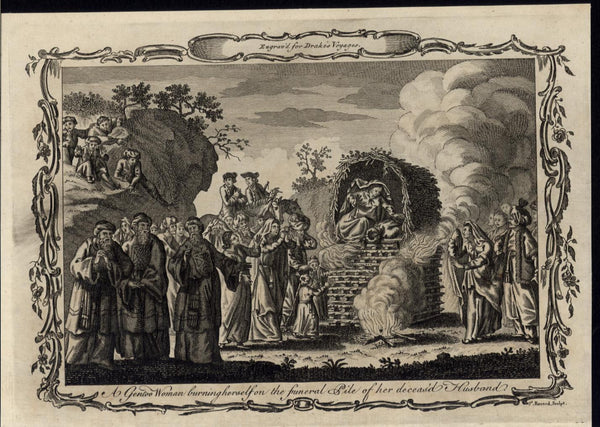 Widow Self Immolation Death Husband Pyre Ritual Sati 1768 antique engraved print