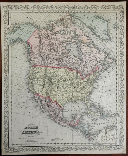 North America United States Canada Mexico Alaska 1859 DeSilver engraved map