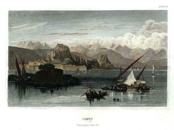 Corfu Greece fishing boats c. 1850 Meyer engraved city view beautiful hand color