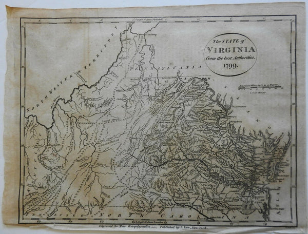 Virginia state 1799 A. Anderson & Low early rare American map Wheat & Brun #974