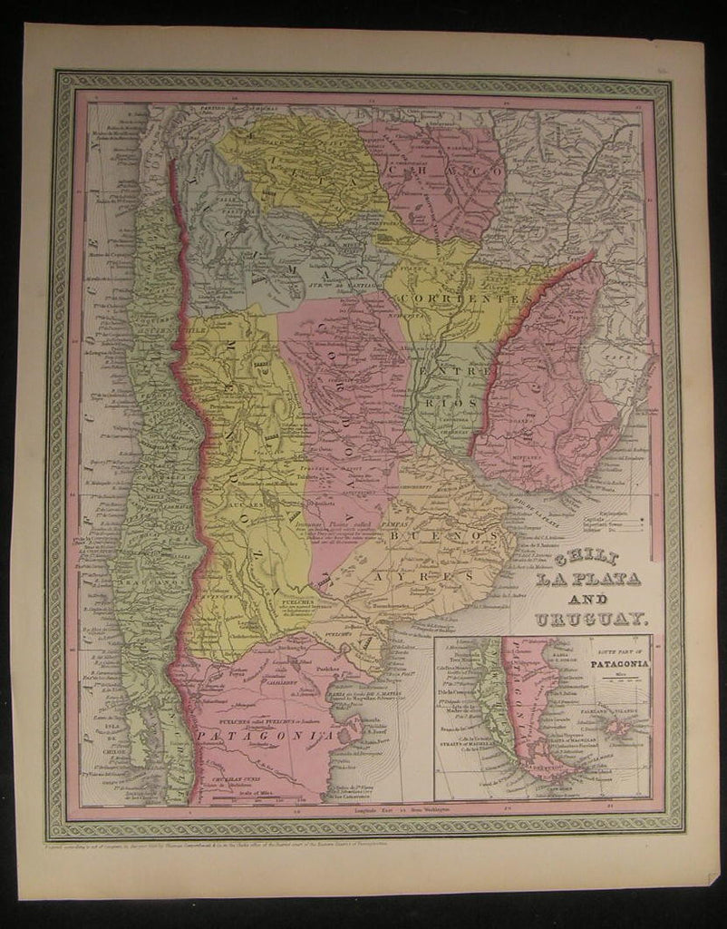 Chile Uruguay North Patagonia Buenos Aires 1850 antique fine Cowperthwait map