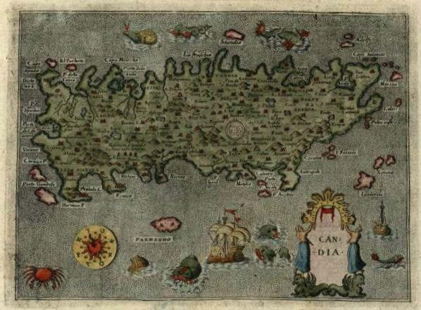 Crete Candia Greece 1620 Porcacchi sea monsters ships decorative miniature map