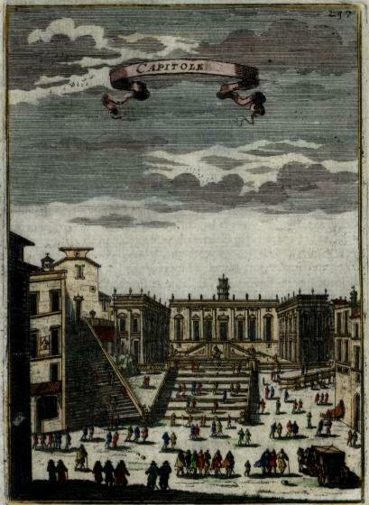 Rome Roma city center Capitole Spanish Steps Italy 1683 Mallet hand color print