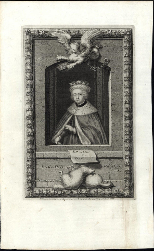 Edward V King of England & France 1732 antique engraved portrait print