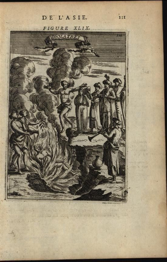 Burning Human Alive Leaping into Flames Musicians 1683 antique India death print