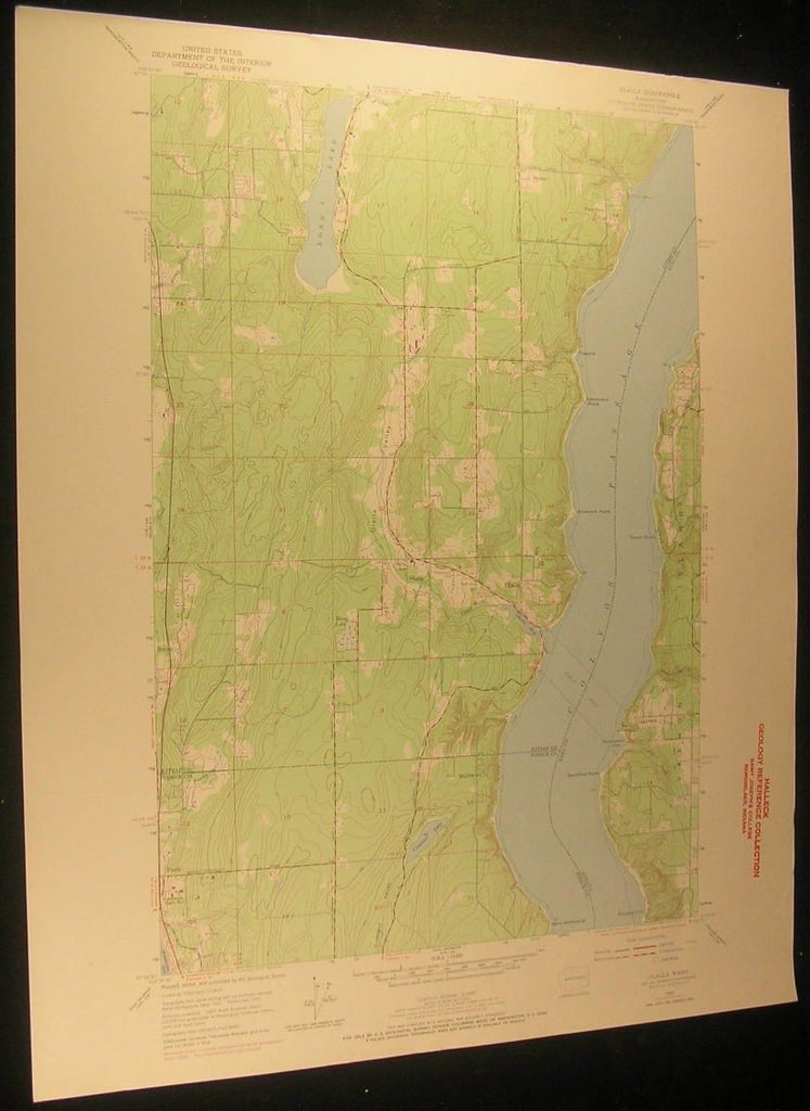 Olalla Washington Crescent Lake Command Point 1969 antique color lithograph map