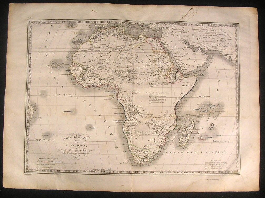 Africa 1837 Rare Beaupre Monin Mts. of Moon fine old vintage antique map