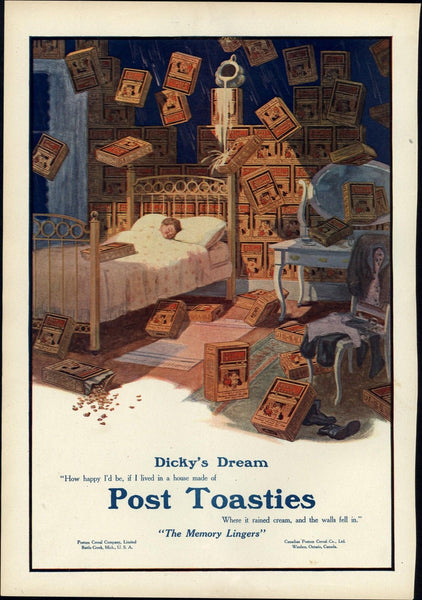 Post Toasties cereal boxes sleeping child dream 1912 old Harper's color print