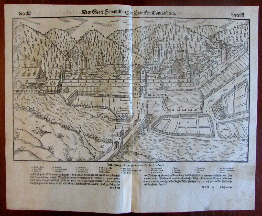 Hammelburg Germany panorama 1590's Munster old wood cut city panorama view