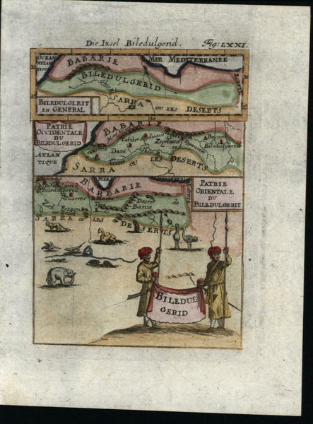 Barbary North Africa numerous animals shown natives 1719 Mallet miniature map