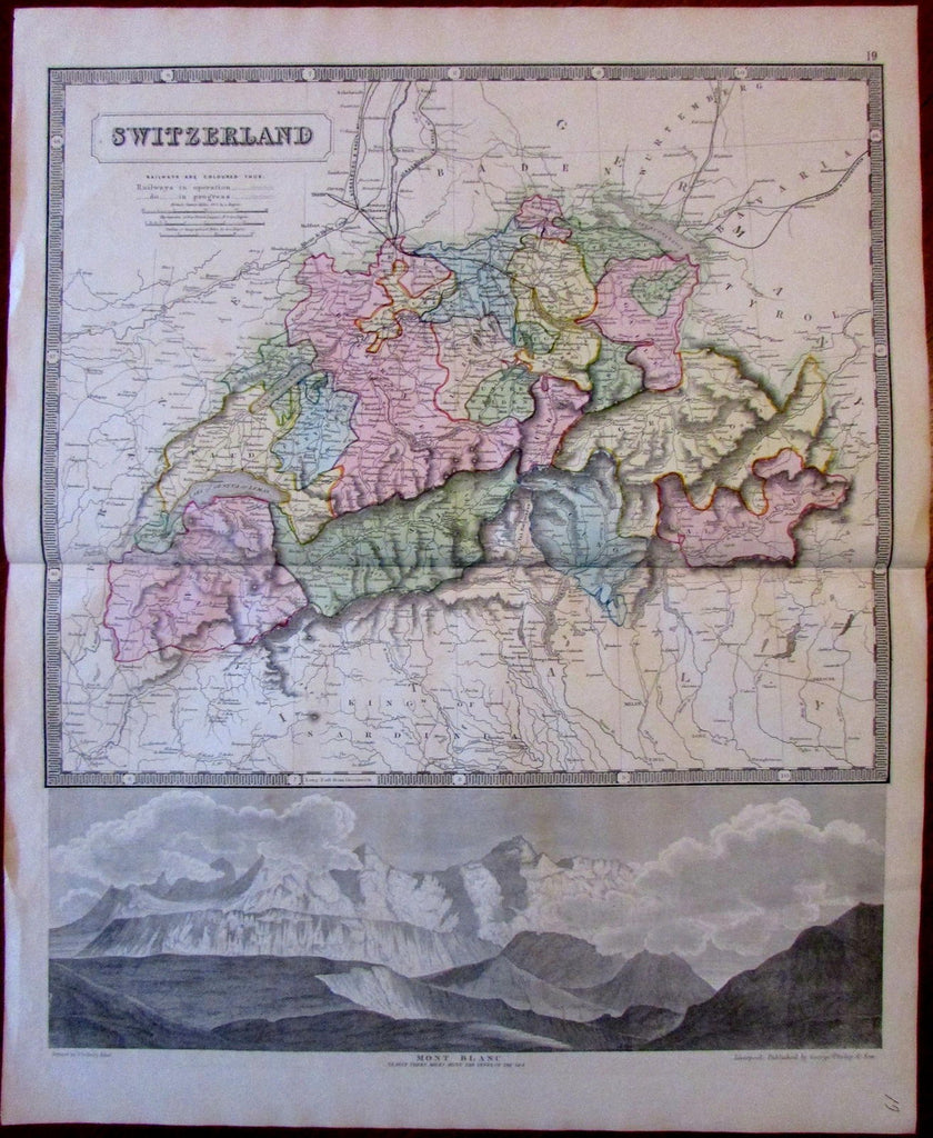 Switzerland Mont Blanc view railroads c.1850 Philip large attractive old map