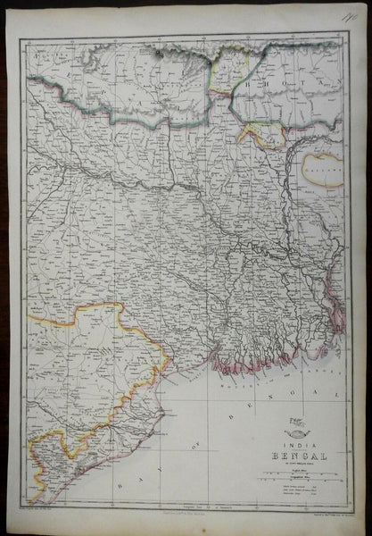 Bengal India British Raj Calcutta Ganges River 1856-72 Weller lithographed map