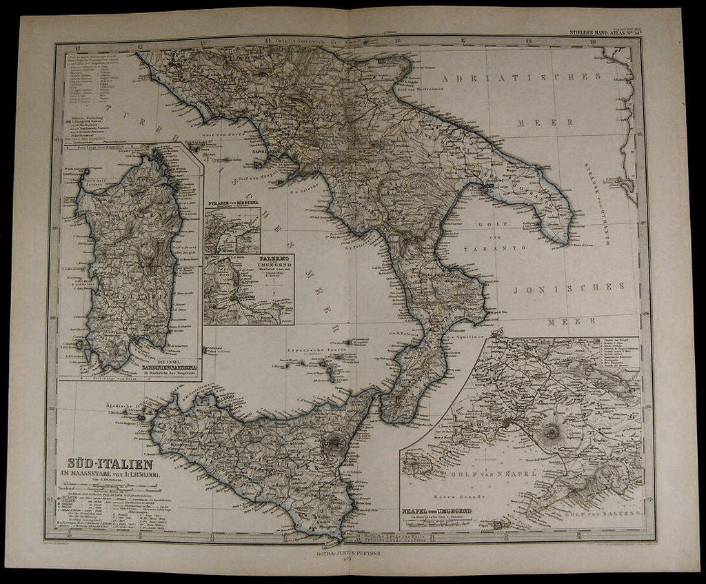 Italy Sicily Sardinia Palermo Messina Strait Naples 1871 fine old detailed map