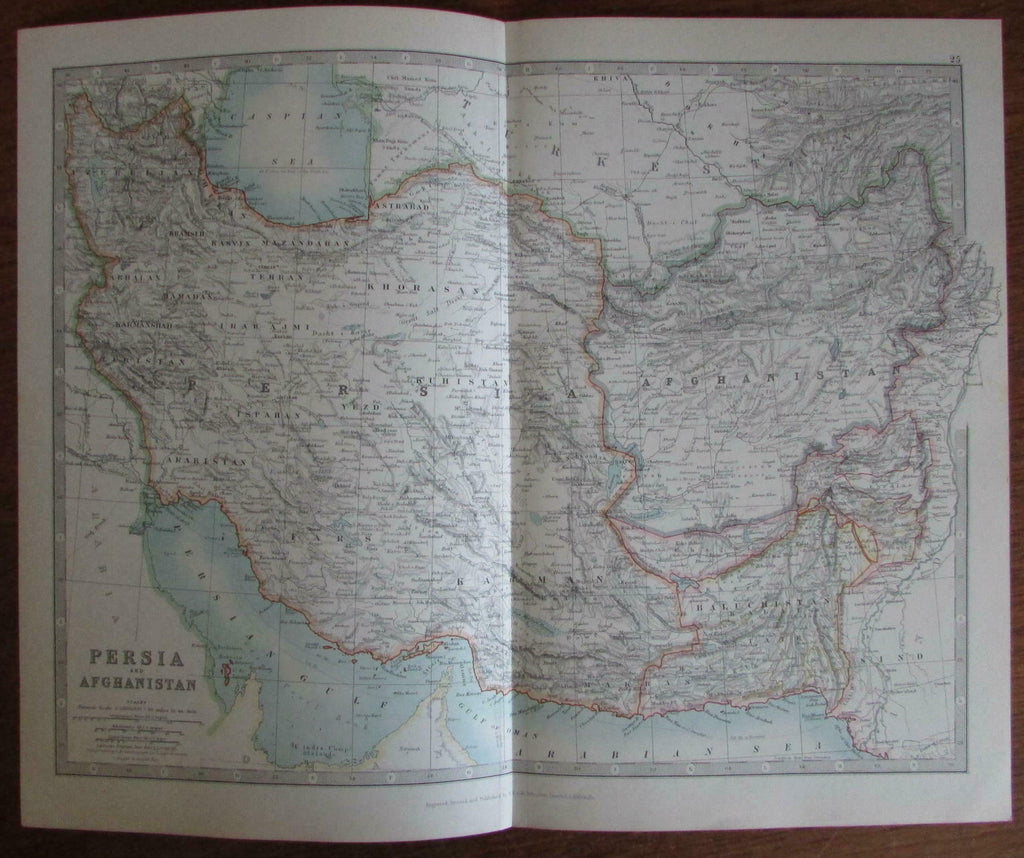 Persia Iran Afghanistan Turkey Azerbaijan 1924 Johnston detailed color map