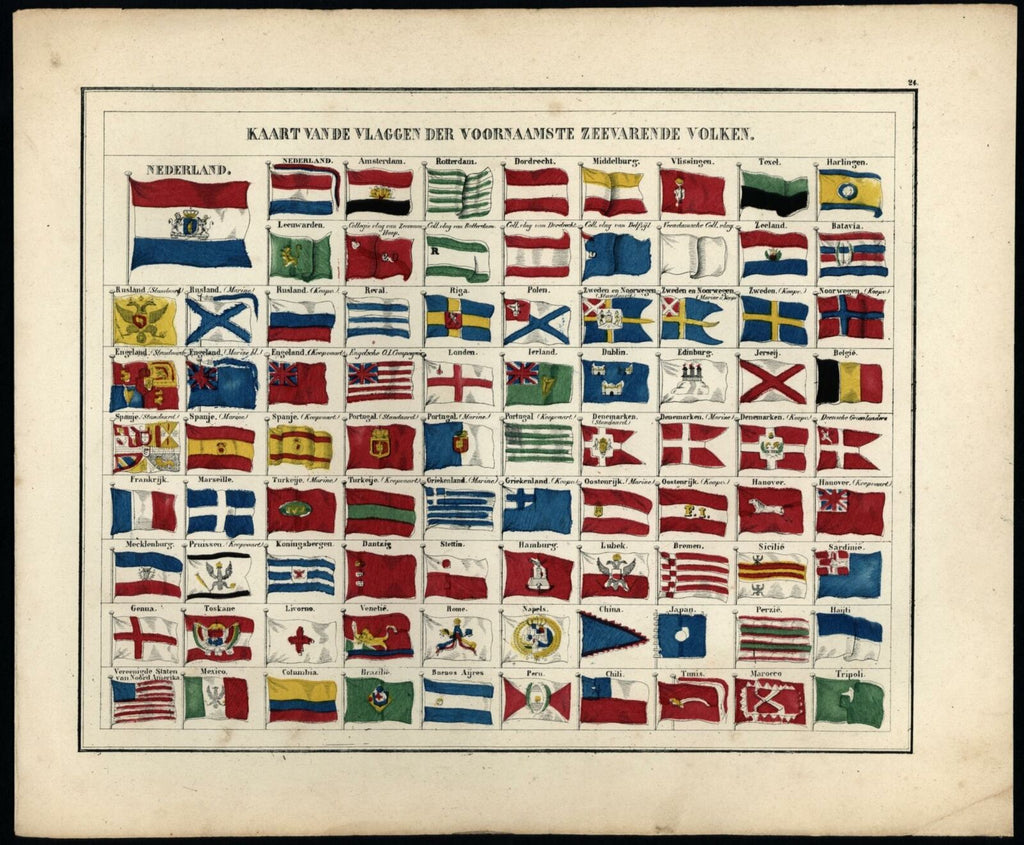 Map Of Flags Of The Major Seafaring Peoples 1840-45 Petri Baedeker Dutch chart