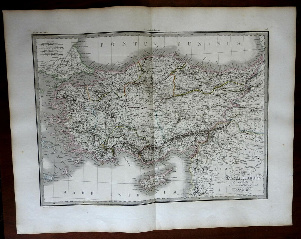 Turkey Ancient Anatolia Asia Minor Cappadocia Phrygia Lydia 1832 Lapie map