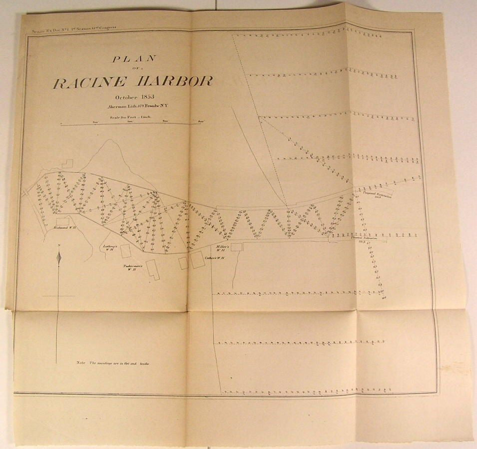 Racine Harbor Plan Wisconsin Lake Michigan 1853 U.S.G. old state survey map