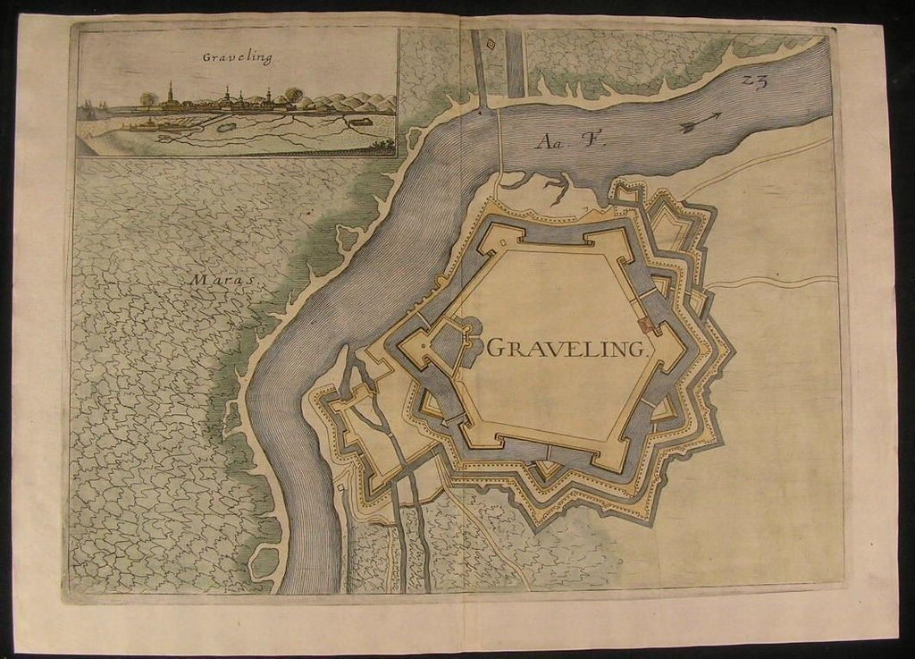 Gravelines Northern France Aa River 1673 antique Priorato hand color city plan