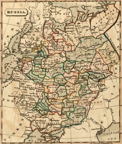 Russia in Europe Territory acquired from Poland shown 1821 Souter antique map
