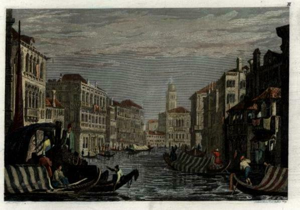 Grand Canal Venice Italy Venezia Italia c.1850 engraved view print hand color