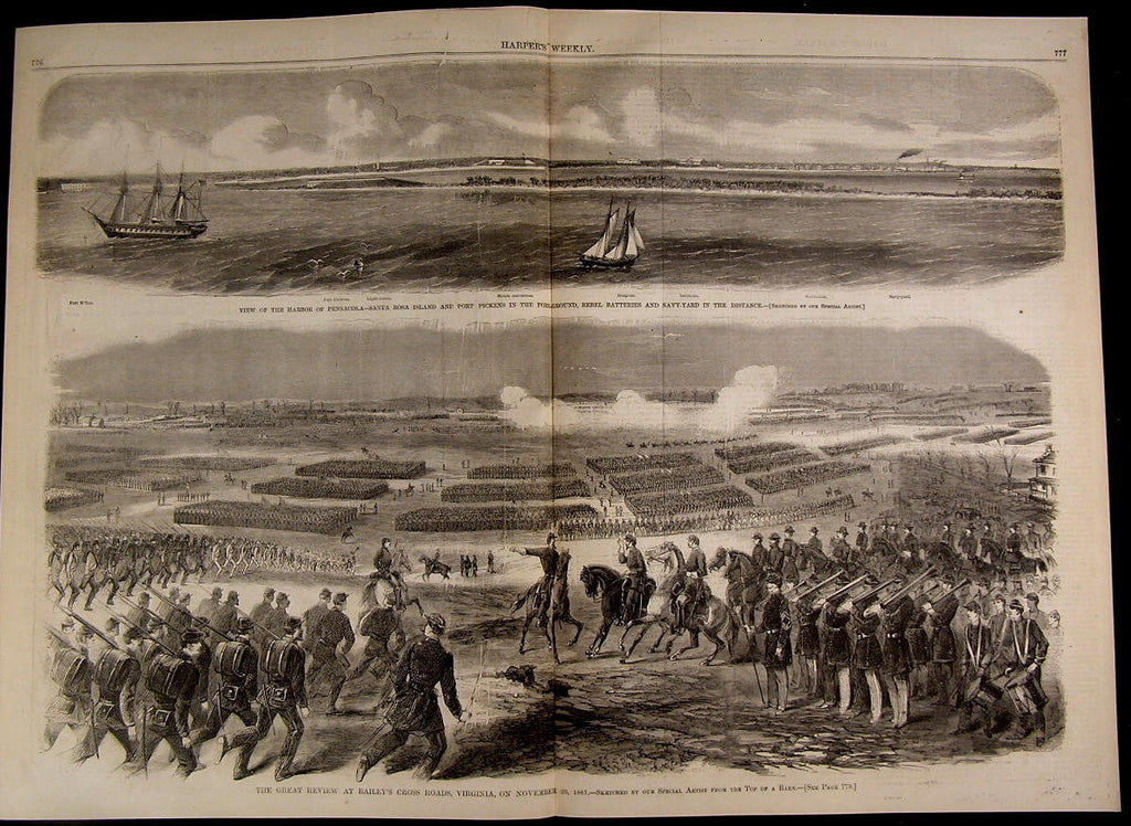 Bailey's Cross Roads Great Military Review nice 1861 great old print for display