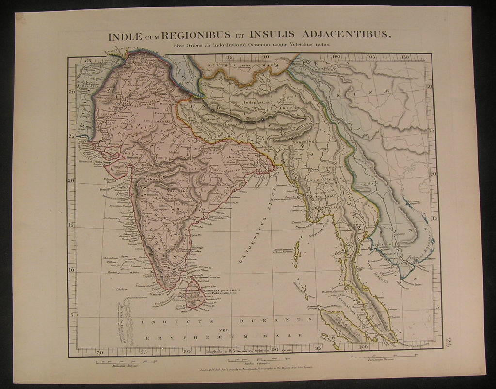 India Pegu region by Arrowsmith 1828 fine old vintage antique color map