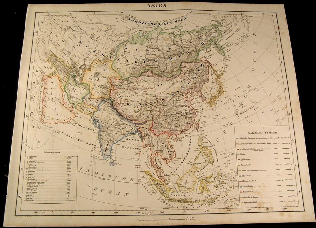Asia China Russia Japan India Arabia Turan 1855 Flemming old antique map