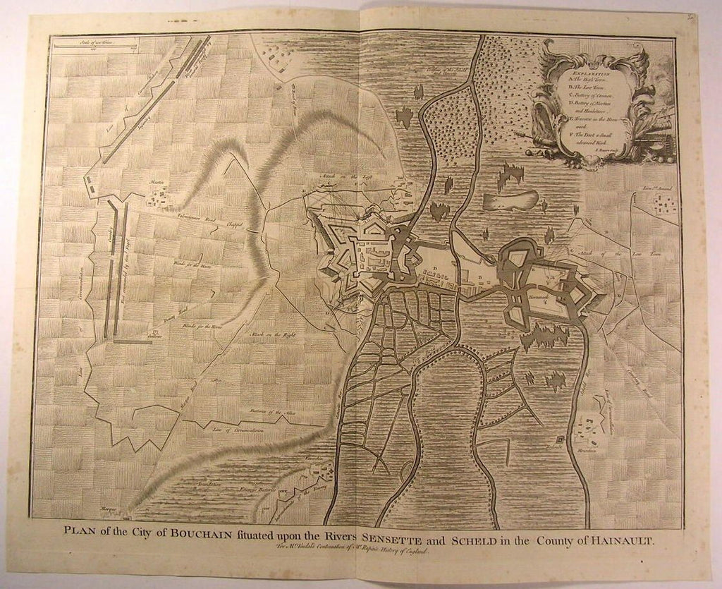 Bouchain France City Plan Battle Fortress Attack c.1745 antique Basire map