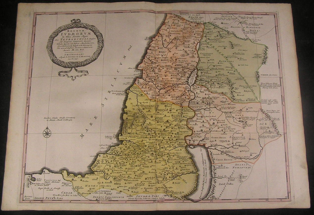 Kingdom of David c. 1740 Covens & Mortier Holy Land fine large antique map