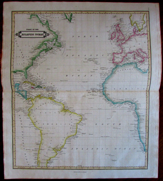 Atlantic Ocean chart coasts North America Africa 1840 Lizars fine antique map