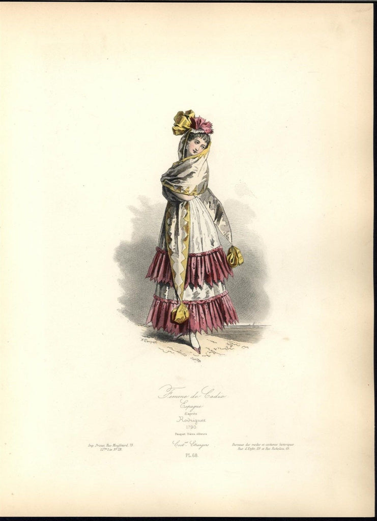 Beautiful Spanish Woman Decorative Shawl c.1870 antique hand color costume print