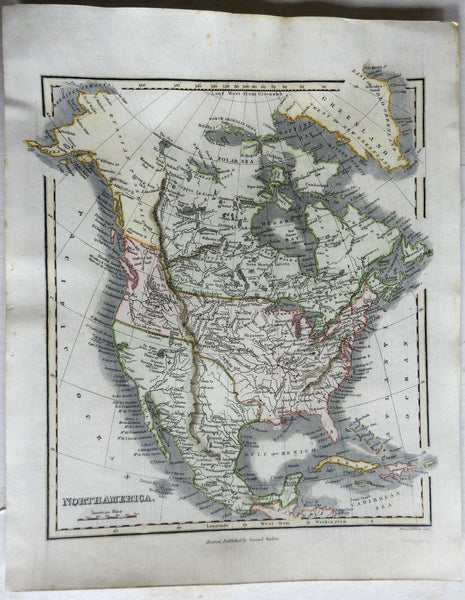 North America United States Canada Mexico Russian America c. 1844-7 Walker map
