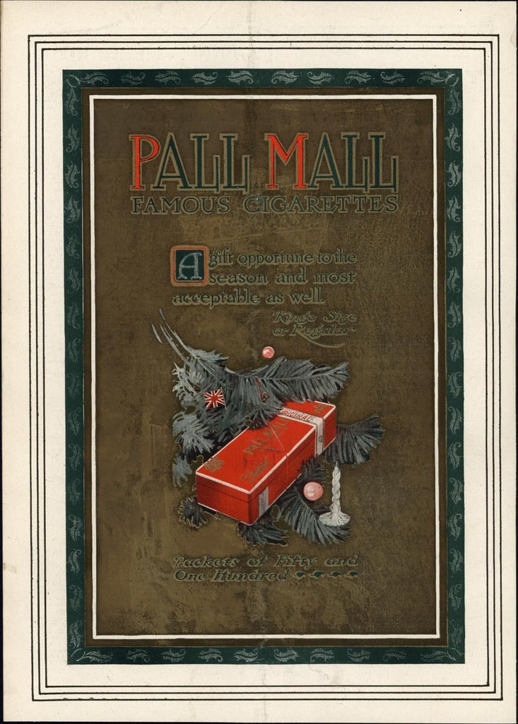 Pall Mall Gold ink Cigarettes Christmas 1911 vintage advertisement sheet paper